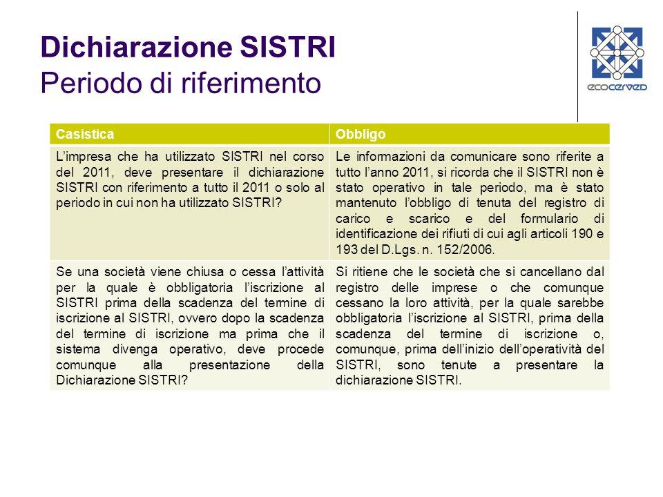 Dichiarazione SISTRI Periodo di riferimento CasisticaObbligo Limpresa che ha utilizzato SISTRI nel corso del 2011, deve presentare il dichiarazione SISTRI con riferimento a tutto il 2011 o solo al periodo in cui non ha utilizzato SISTRI.