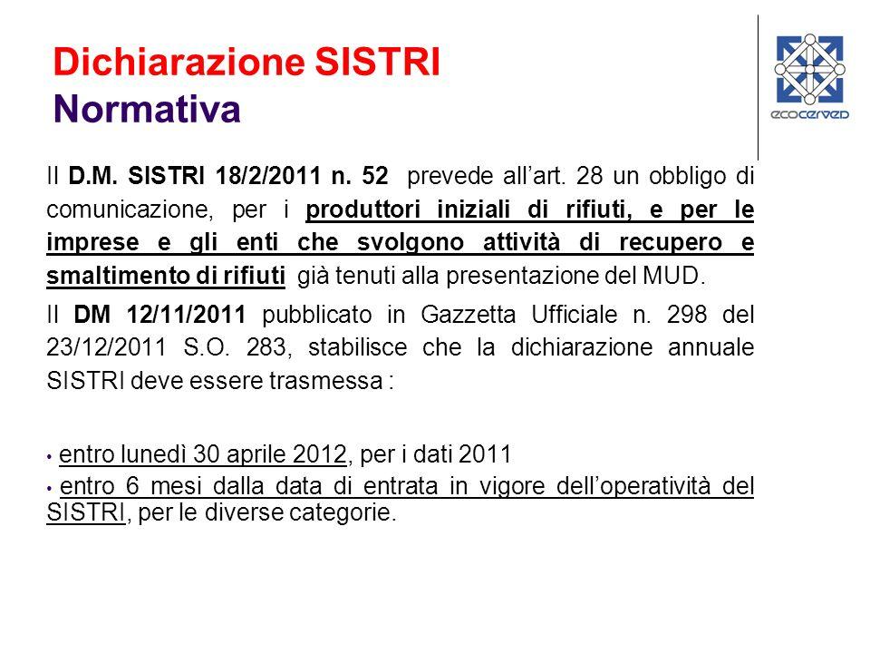 Il D.M.SISTRI 18/2/2011 n. 52 prevede allart.