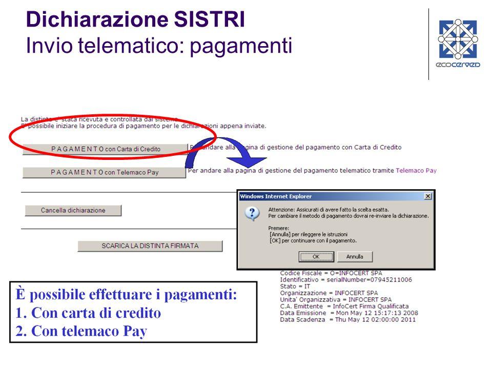 Dichiarazione SISTRI Invio telematico: pagamenti