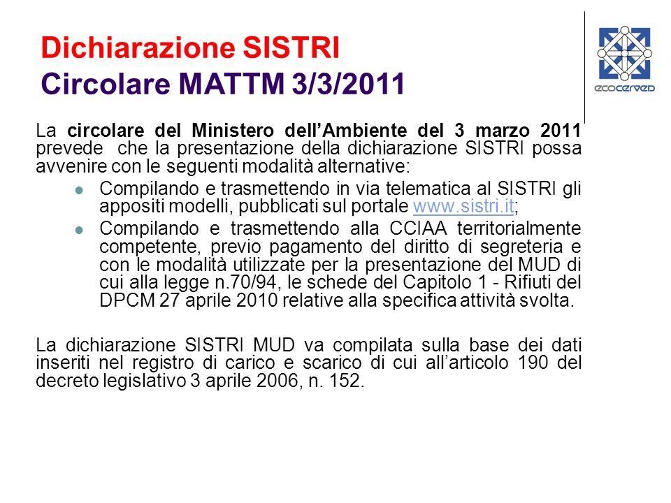 Software gratuito della Camera di Commercio che produce: - File MUD2011.001 (All.