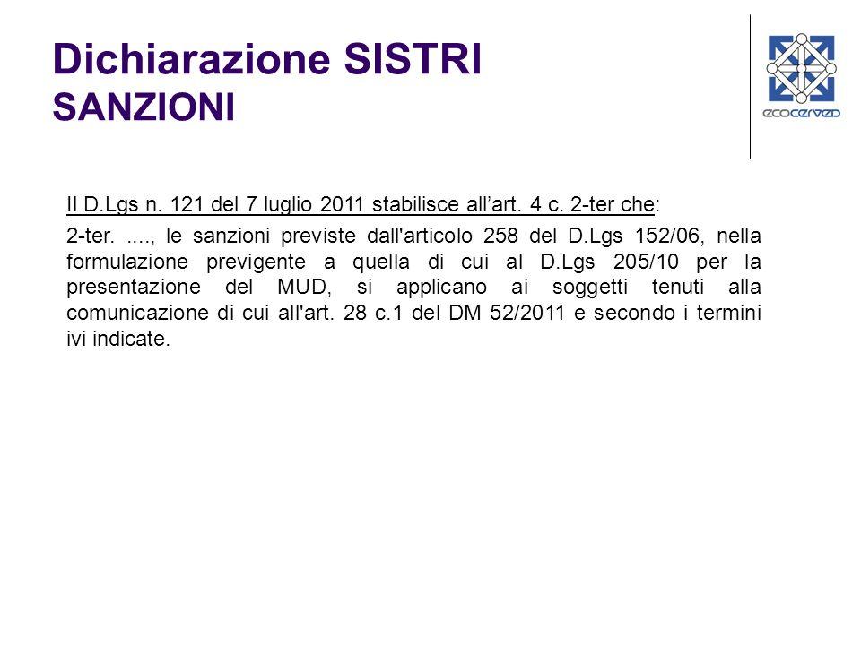 Il D.Lgs n.121 del 7 luglio 2011 stabilisce allart.