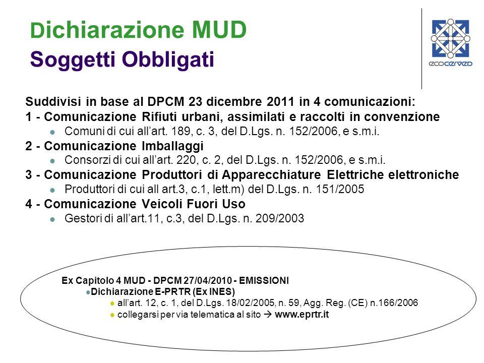 Suddivisi in base al DPCM 23 dicembre 2011 in 4 comunicazioni: 1 - Comunicazione Rifiuti urbani, assimilati e raccolti in convenzione Comuni di cui allart.