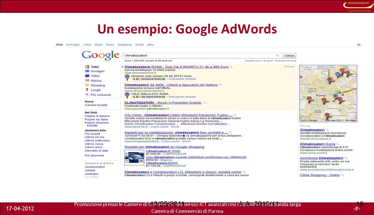 Promozione presso le Camere di Commercio dei servizi ICT avanzati resi disponibili dalla banda larga Camera di Commercio di Parma 17-04-201216 Un esempio: Google AdWords A.A.