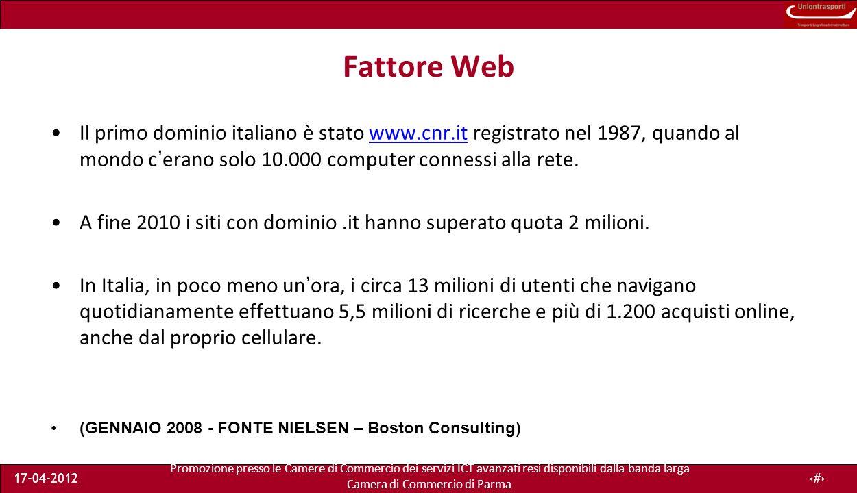 Promozione presso le Camere di Commercio dei servizi ICT avanzati resi disponibili dalla banda larga Camera di Commercio di Parma 17-04-201214 Un esempio