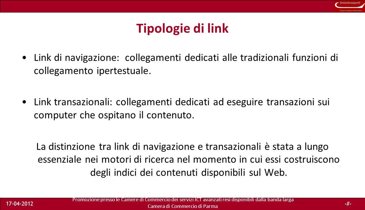 Promozione presso le Camere di Commercio dei servizi ICT avanzati resi disponibili dalla banda larga Camera di Commercio di Parma 17-04-201219 Page tag A.A.