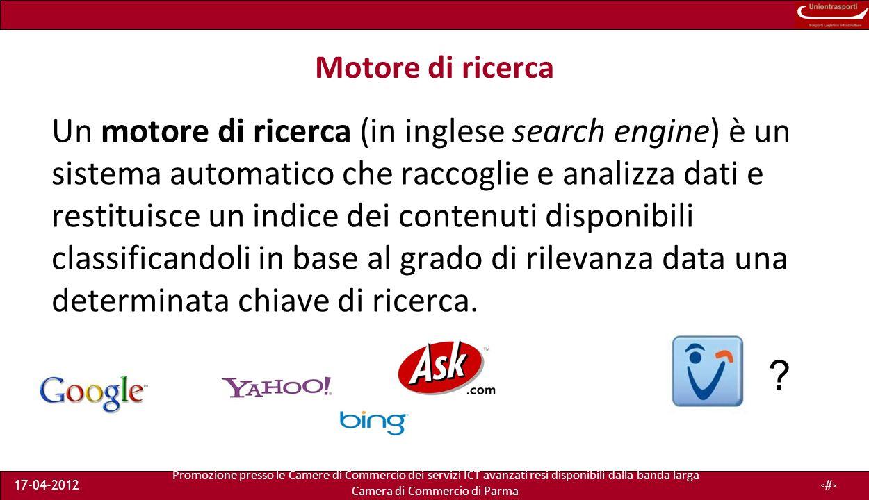 Promozione presso le Camere di Commercio dei servizi ICT avanzati resi disponibili dalla banda larga Camera di Commercio di Parma 17-04-201220 Logfiles A.A.