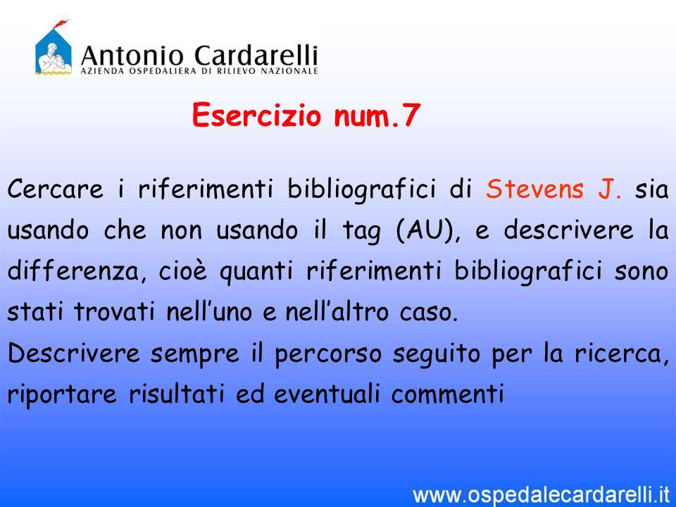 Esercizio num.7 Cercare i riferimenti bibliografici di Stevens J.