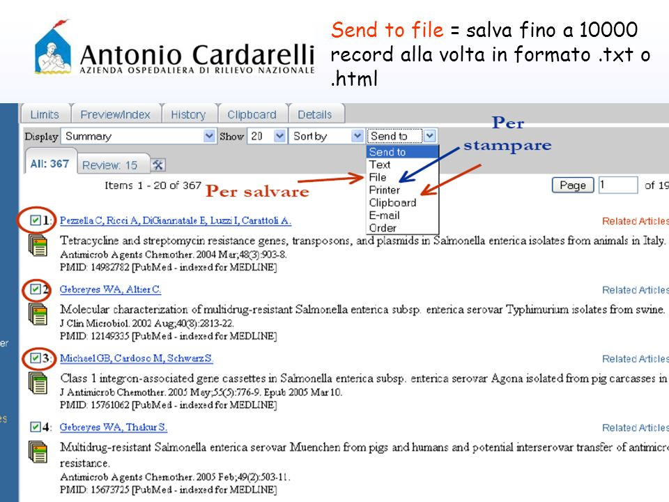 Send to file = salva fino a 10000 record alla volta in formato.txt o.html