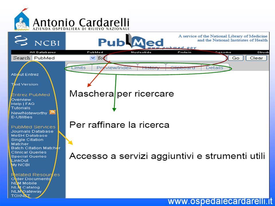 PubMed È il sistema di riferimento quando si intende effettuare una ricerca bibliografica via Entrez ENTREZ è il sistema integrato per la ricerca ed il recupero dellinformazione usato da NCBI per le principali banche dati.