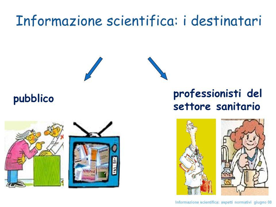 professionisti del settore sanitario pubblico Informazione scientifica: i destinatari Informazione scientifica: aspetti normativi giugno 08