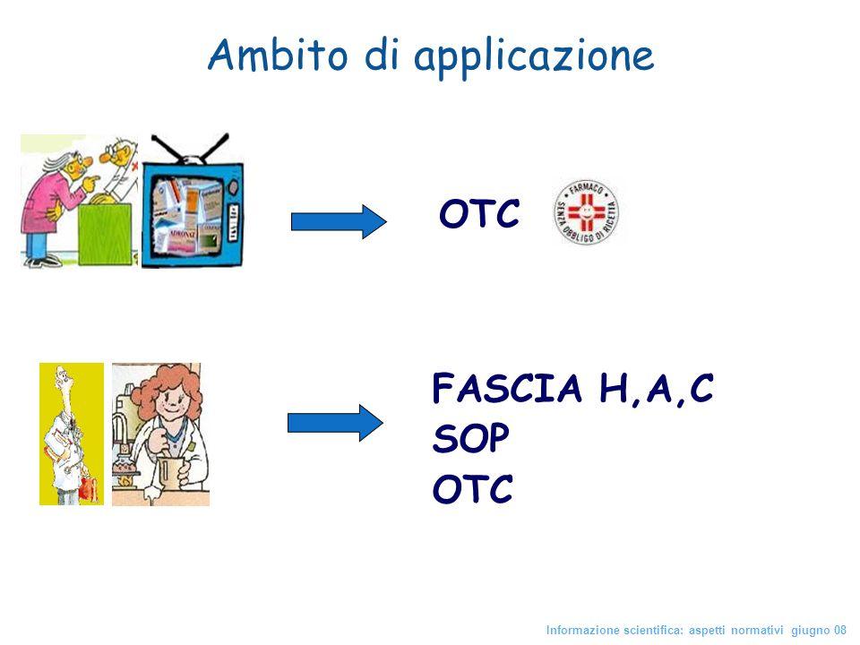 Ambito di applicazione Informazione scientifica: aspetti normativi giugno 08 OTC FASCIA H,A,C SOP OTC
