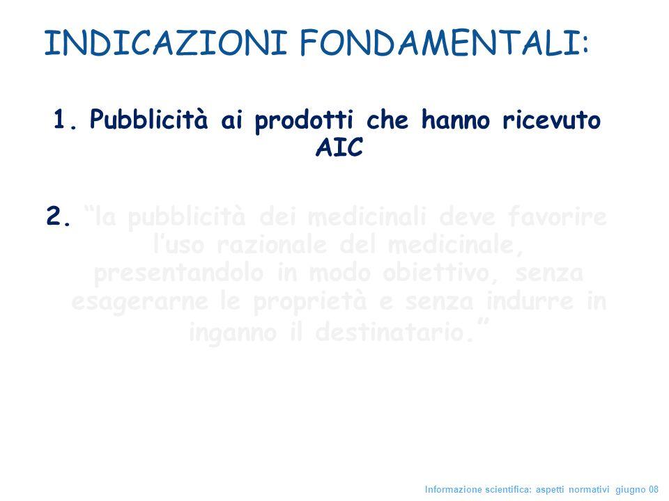 INDICAZIONI FONDAMENTALI: 1. Pubblicità ai prodotti che hanno ricevuto AIC 2. la pubblicità dei medicinali deve favorire luso razionale del medicinale