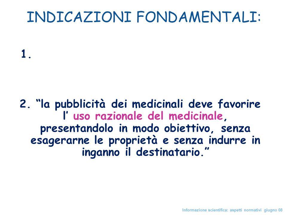 INDICAZIONI FONDAMENTALI: 1. Pubblicità ai prodotti che hanno ricevuto AIC 2. la pubblicità dei medicinali deve favorire l uso razionale del medicinal