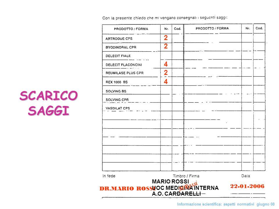42 4242 SCARICO SAGGI DR.MARIO ROSSI MARIO ROSSI UOC MEDICINA INTERNA A.O. CARDARELLI 22-01-2006 M R o s s i Informazione scientifica: aspetti normati