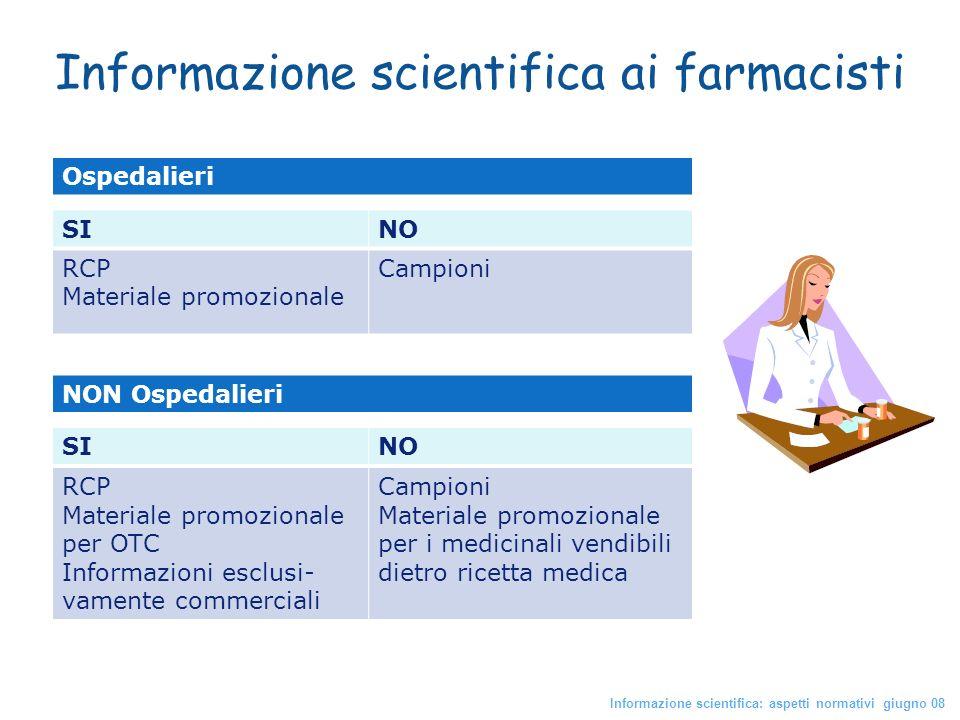 Informazione scientifica ai farmacisti Informazione scientifica: aspetti normativi giugno 08 NON Ospedalieri Ospedalieri SINO RCP Materiale promoziona