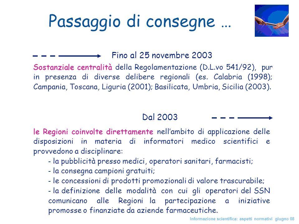 Fino al 25 novembre 2003 Sostanziale centralità della Regolamentazione (D.L.vo 541/92), pur in presenza di diverse delibere regionali (es. Calabria (1