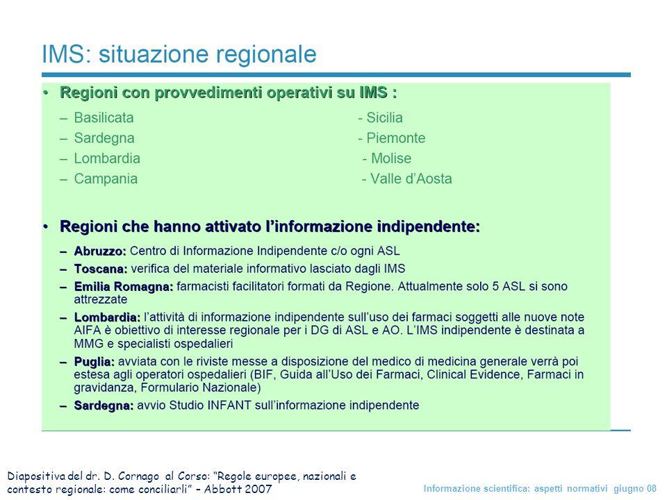 Diapositiva del dr. D. Cornago al Corso: Regole europee, nazionali e contesto regionale: come conciliarli – Abbott 2007 Informazione scientifica: aspe