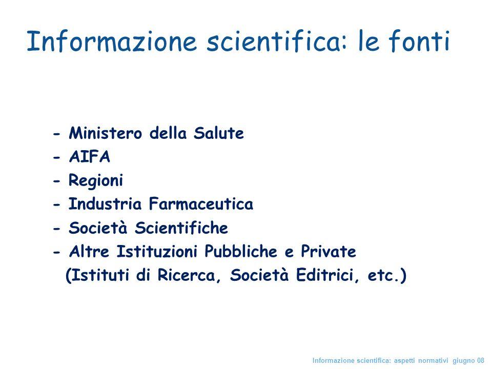 - Ministero della Salute - AIFA - Regioni - Industria Farmaceutica - Società Scientifiche - Altre Istituzioni Pubbliche e Private (Istituti di Ricerca