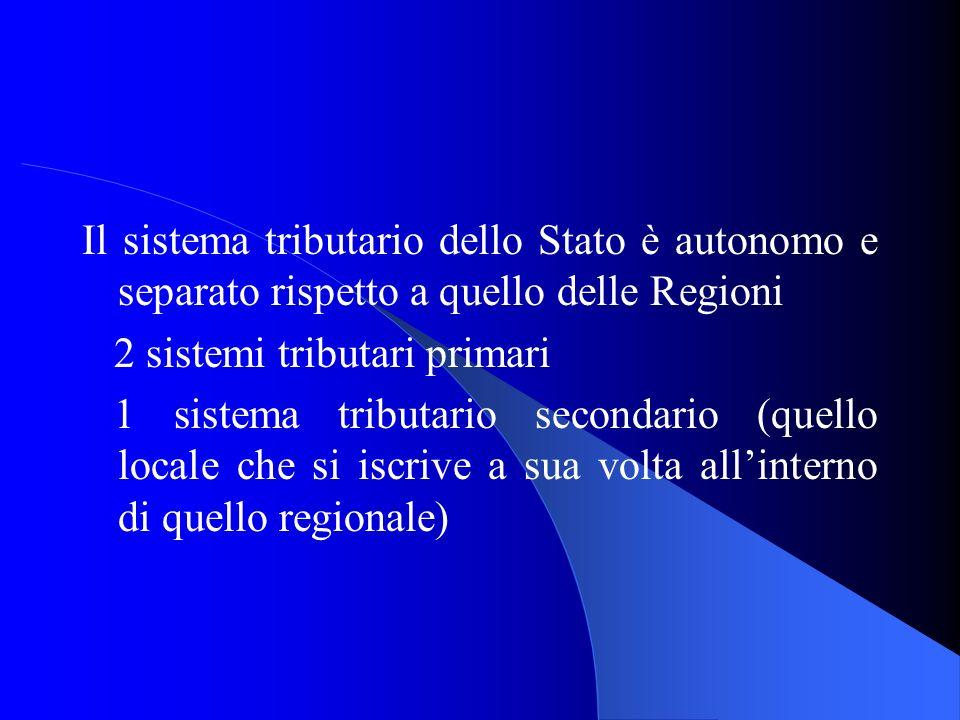 Il sistema tributario dello Stato è autonomo e separato rispetto a quello delle Regioni 2 sistemi tributari primari 1 sistema tributario secondario (q