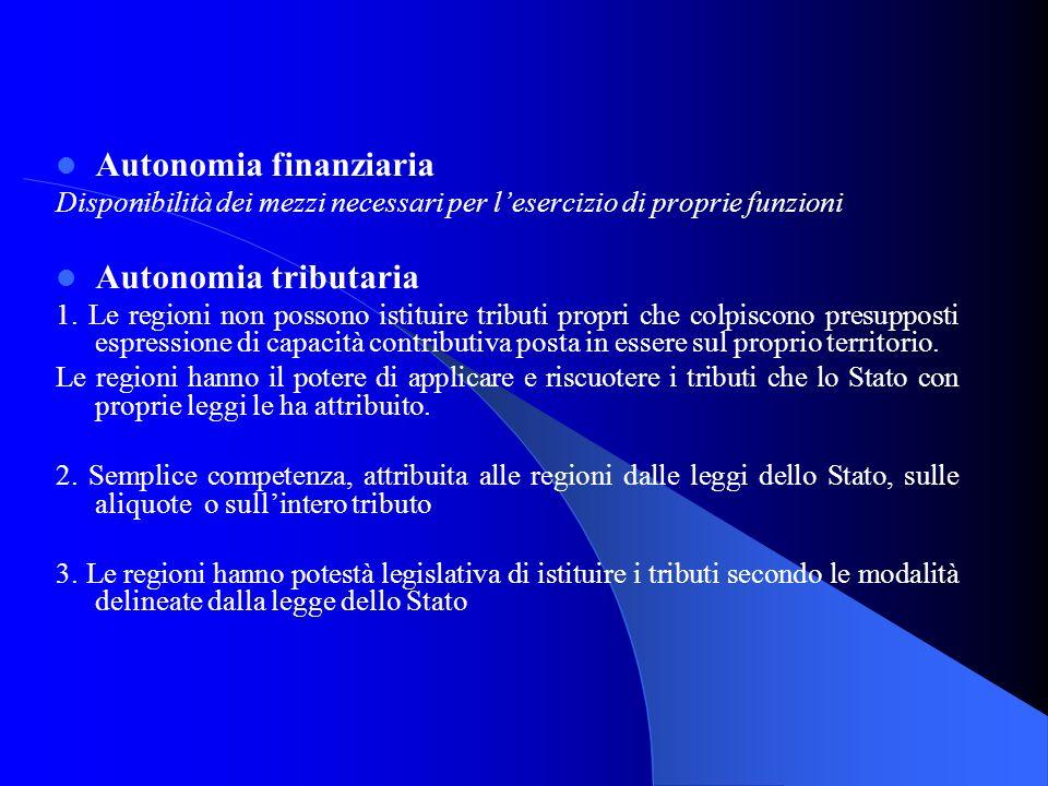 Autonomia finanziaria Disponibilità dei mezzi necessari per lesercizio di proprie funzioni Autonomia tributaria 1. Le regioni non possono istituire tr