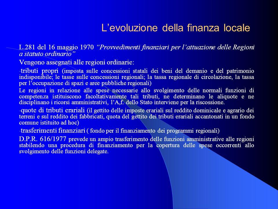 Levoluzione della finanza locale L.281 del 16 maggio 1970 Provvedimenti finanziari per lattuazione delle Regioni a statuto ordinario Vengono assegnati