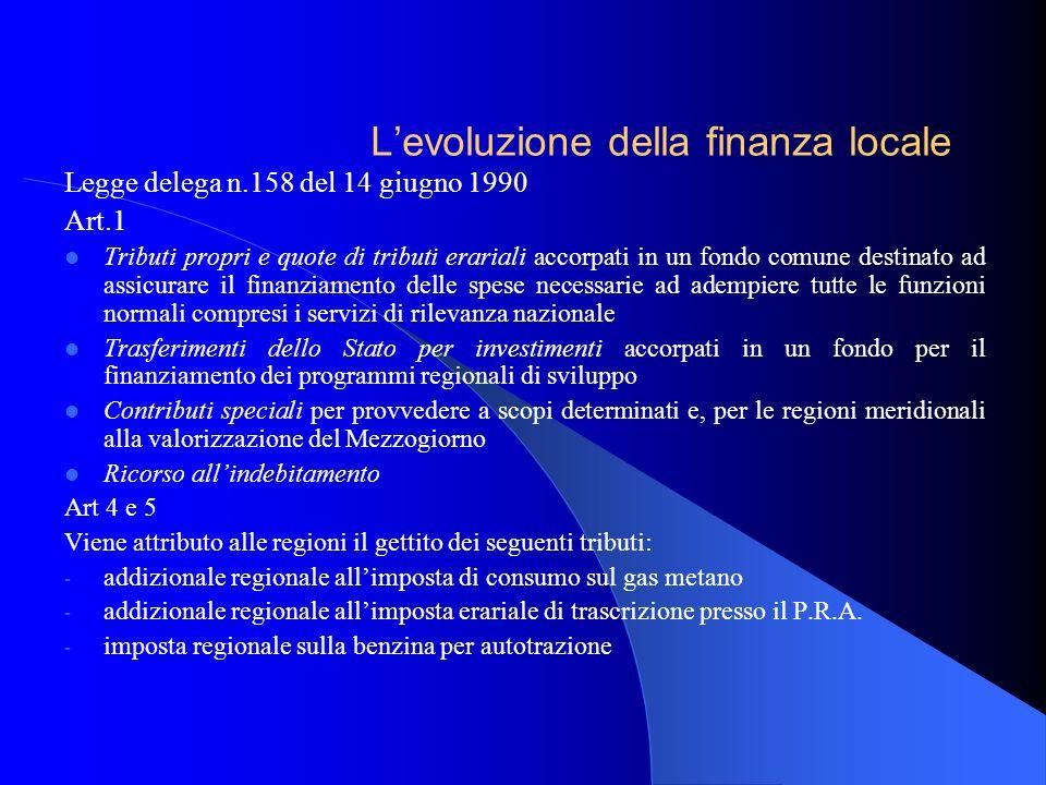 Legge delega n.158 del 14 giugno 1990 Art.1 Tributi propri e quote di tributi erariali accorpati in un fondo comune destinato ad assicurare il finanzi