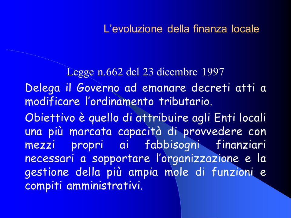 Legge n.662 del 23 dicembre 1997 Delega il Governo ad emanare decreti atti a modificare lordinamento tributario. Obiettivo è quello di attribuire agli