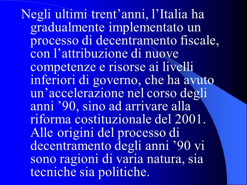 Negli ultimi trentanni, lItalia ha gradualmente implementato un processo di decentramento fiscale, con lattribuzione di nuove competenze e risorse ai