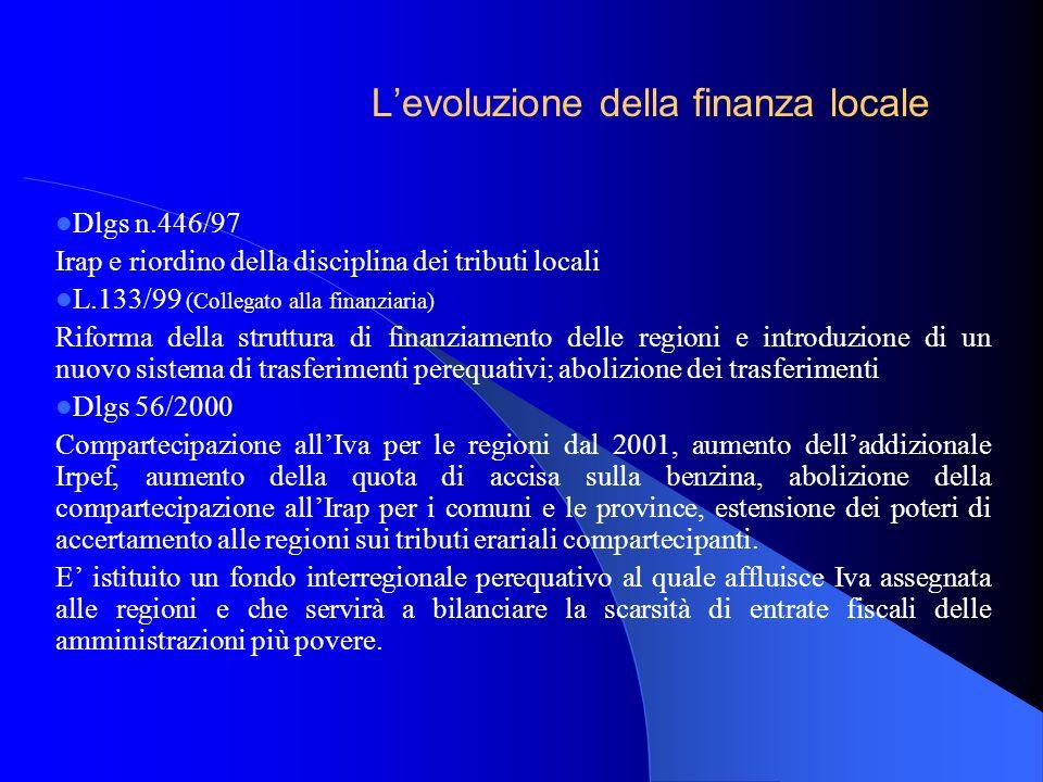Dlgs n.446/97 Irap e riordino della disciplina dei tributi locali L.133/99 (Collegato alla finanziaria) Riforma della struttura di finanziamento delle