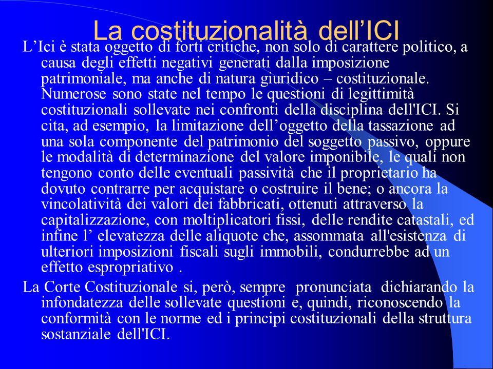 La costituzionalità dellICI LIci è stata oggetto di forti critiche, non solo di carattere politico, a causa degli effetti negativi generati dalla impo