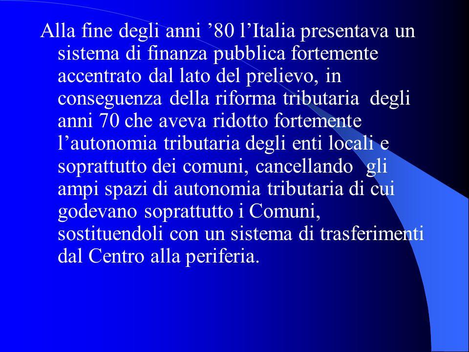 Alla fine degli anni 80 lItalia presentava un sistema di finanza pubblica fortemente accentrato dal lato del prelievo, in conseguenza della riforma tr