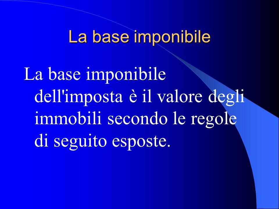 La base imponibile La base imponibile dell'imposta è il valore degli immobili secondo le regole di seguito esposte.