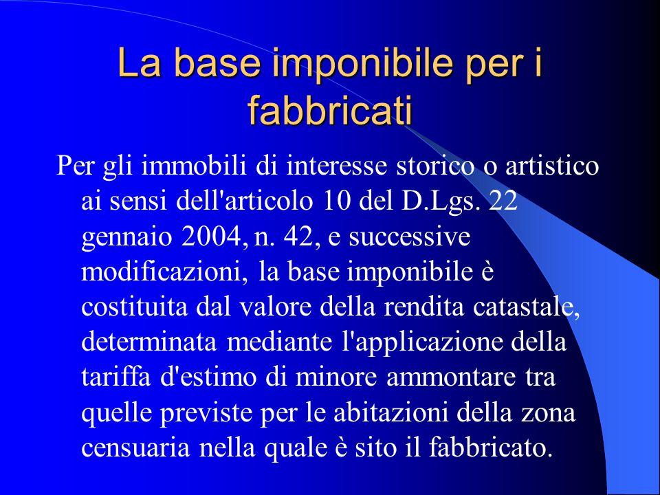 La base imponibile per i fabbricati Per gli immobili di interesse storico o artistico ai sensi dell'articolo 10 del D.Lgs. 22 gennaio 2004, n. 42, e s