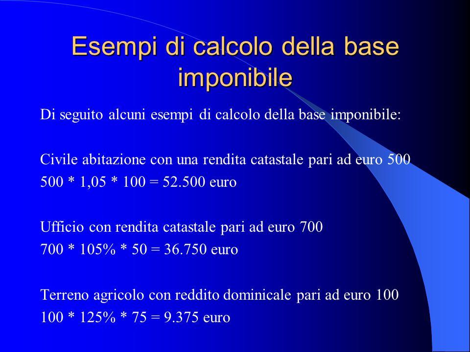 Esempi di calcolo della base imponibile Di seguito alcuni esempi di calcolo della base imponibile: Civile abitazione con una rendita catastale pari ad