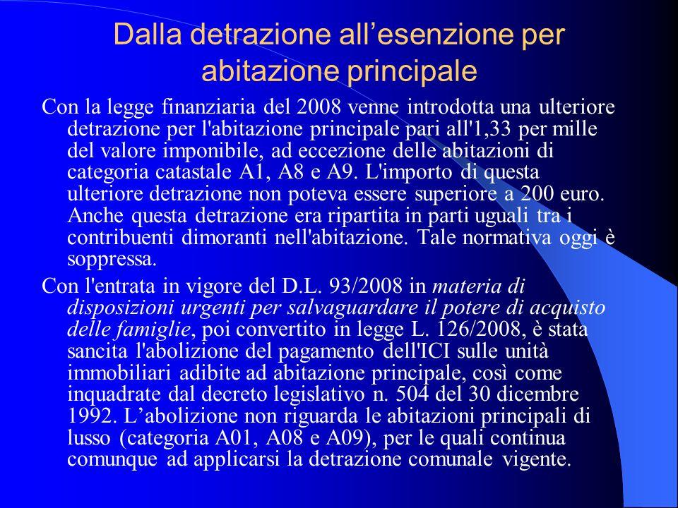 Dalla detrazione allesenzione per abitazione principale Con la legge finanziaria del 2008 venne introdotta una ulteriore detrazione per l'abitazione p