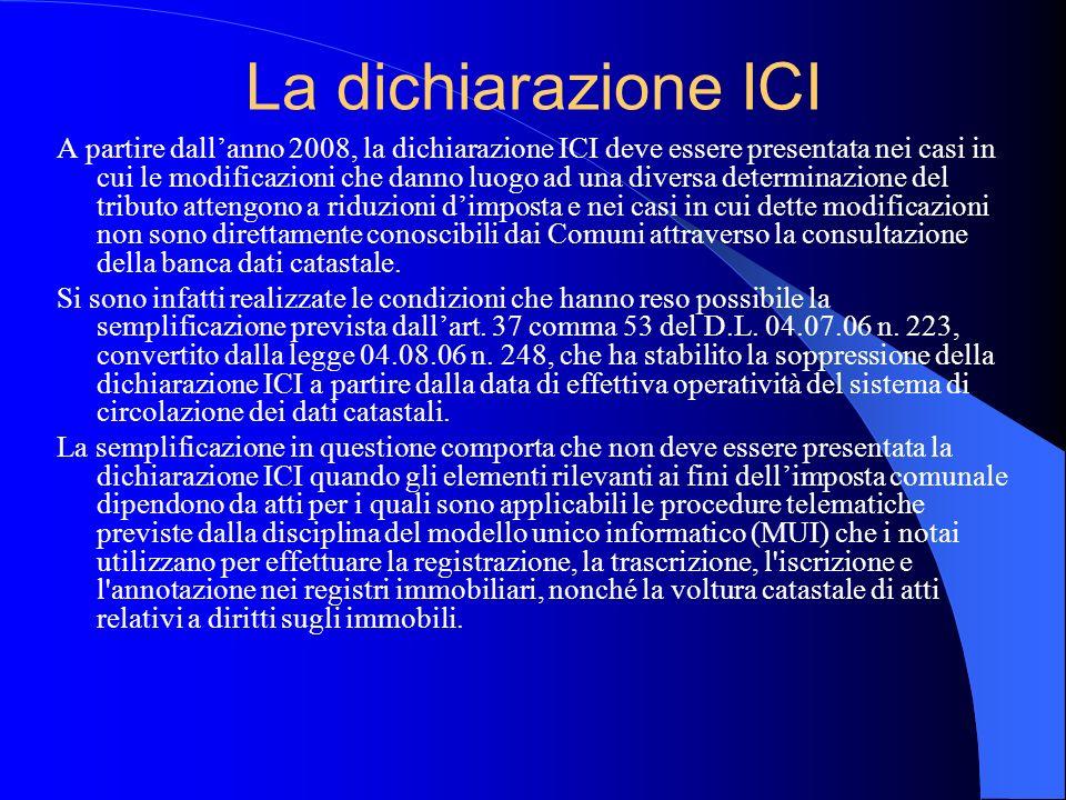 La dichiarazione ICI A partire dallanno 2008, la dichiarazione ICI deve essere presentata nei casi in cui le modificazioni che danno luogo ad una dive