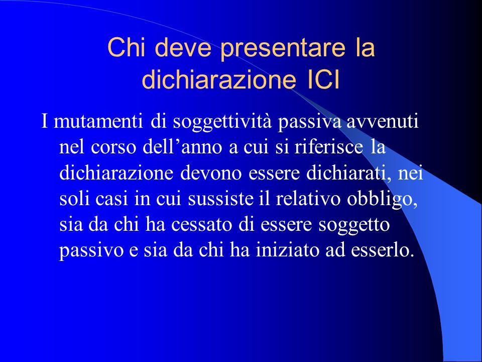 Chi deve presentare la dichiarazione ICI I mutamenti di soggettività passiva avvenuti nel corso dellanno a cui si riferisce la dichiarazione devono es