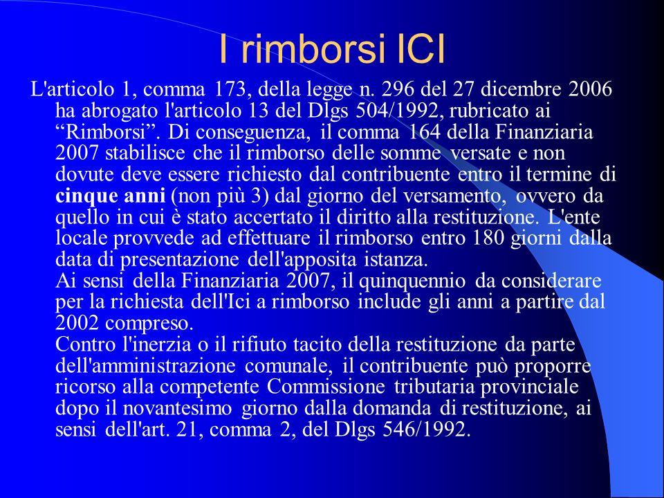 I rimborsi ICI L'articolo 1, comma 173, della legge n. 296 del 27 dicembre 2006 ha abrogato l'articolo 13 del Dlgs 504/1992, rubricato ai Rimborsi. Di