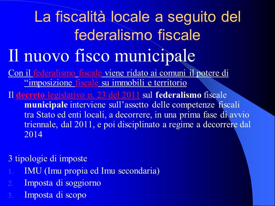 La fiscalità locale a seguito del federalismo fiscale Il nuovo fisco municipale Con il federalismo fiscale viene ridato ai comuni il potere di imposiz