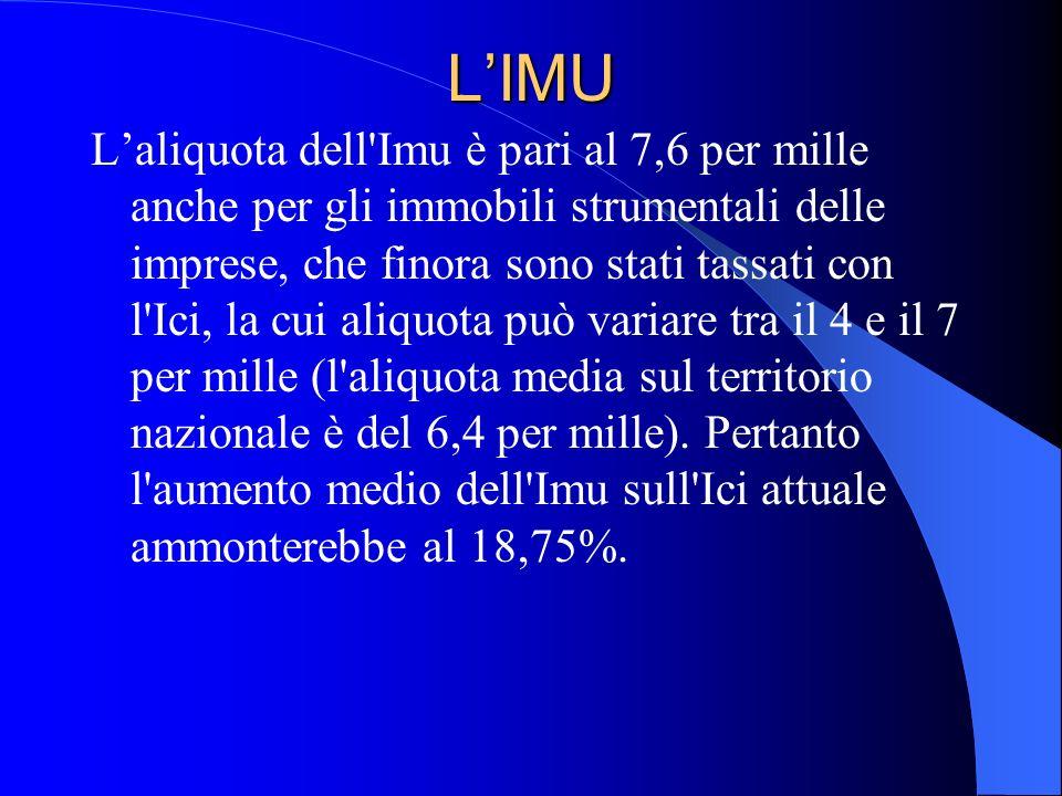 LIMU Laliquota dell'Imu è pari al 7,6 per mille anche per gli immobili strumentali delle imprese, che finora sono stati tassati con l'Ici, la cui aliq