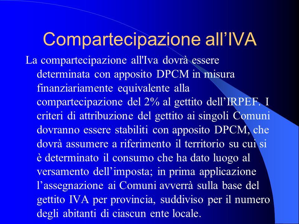 Compartecipazione allIVA La compartecipazione all'Iva dovrà essere determinata con apposito DPCM in misura finanziariamente equivalente alla compartec