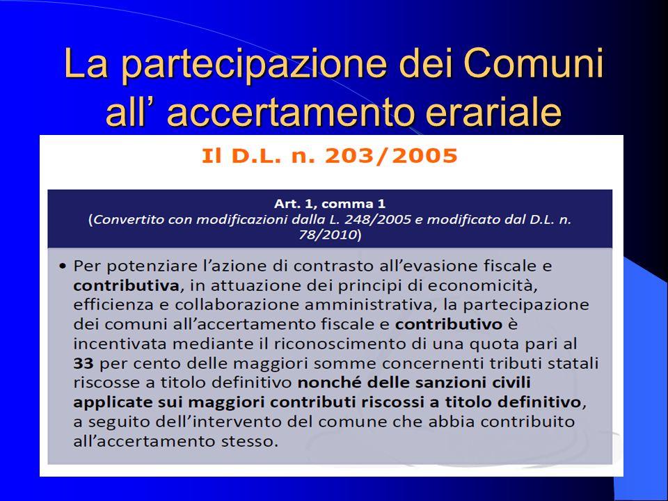 La partecipazione dei Comuni all accertamento erariale