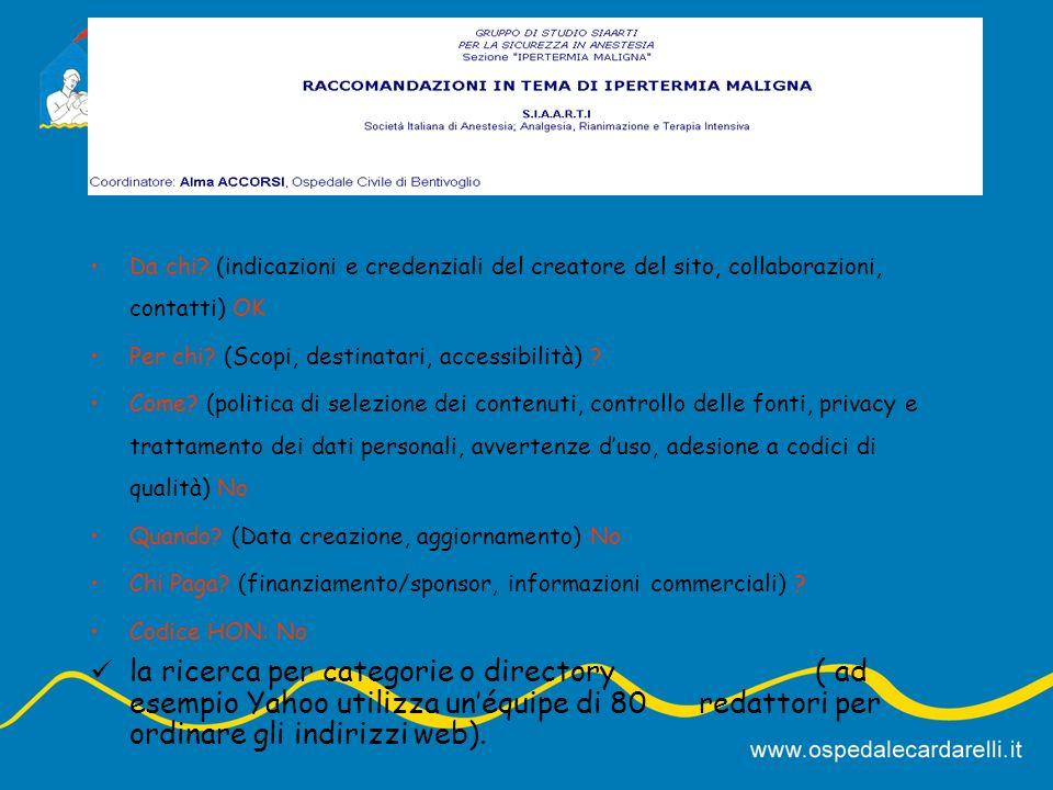 Da chi.(indicazioni e credenziali del creatore del sito, collaborazioni, contatti) .