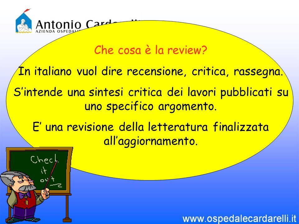 Che cosa è la review. In italiano vuol dire recensione, critica, rassegna.