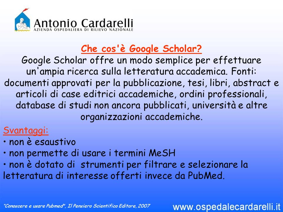 Che cos è Google Scholar.