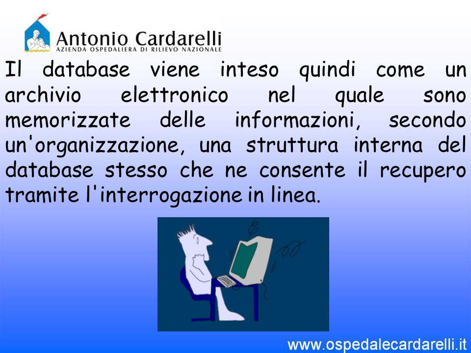 Il database viene inteso quindi come un archivio elettronico nel quale sono memorizzate delle informazioni, secondo un'organizzazione, una struttura i