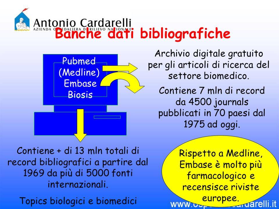 Banche dati bibliografiche Pubmed (Medline) Embase Biosis Contiene + di 13 mln totali di record bibliografici a partire dal 1969 da più di 5000 fonti internazionali.