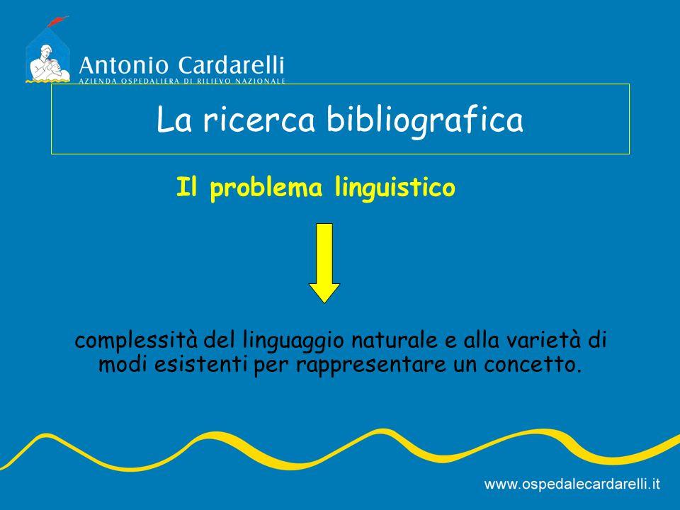 La ricerca bibliografica complessità del linguaggio naturale e alla varietà di modi esistenti per rappresentare un concetto. Il problema linguistico