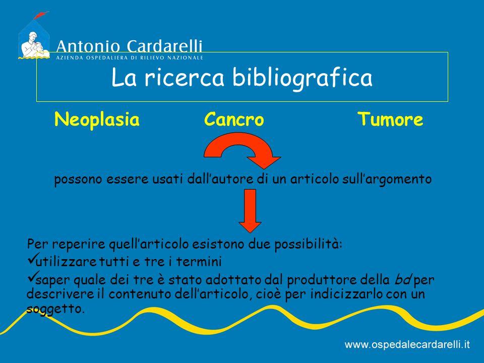 La ricerca bibliografica Neoplasia possono essere usati dallautore di un articolo sullargomento CancroTumore Per reperire quellarticolo esistono due p