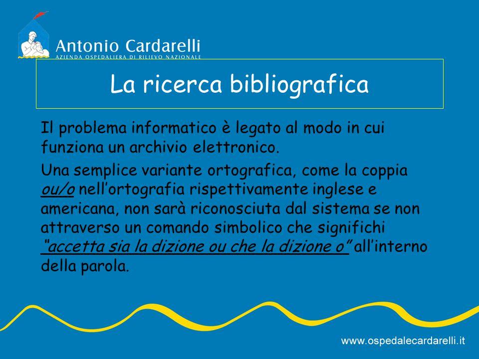 La ricerca bibliografica Il problema informatico è legato al modo in cui funziona un archivio elettronico. Una semplice variante ortografica, come la
